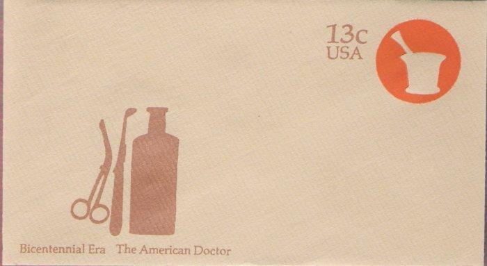 1976, US Scott U574, 13-cent Small Envelope 3.625 x 6.5 inch, Bicentennial Era  The American Doc