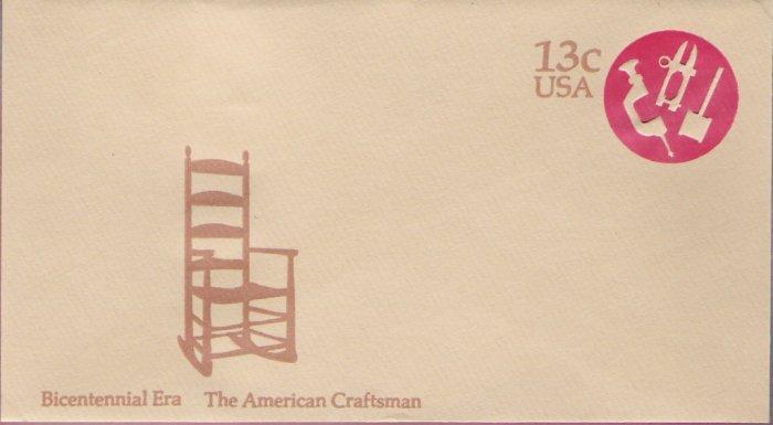 1976, US Scott U575, 13-cent Small Envelope 3.625 x 6.5 inch, Bicentennial Era  The American Cra