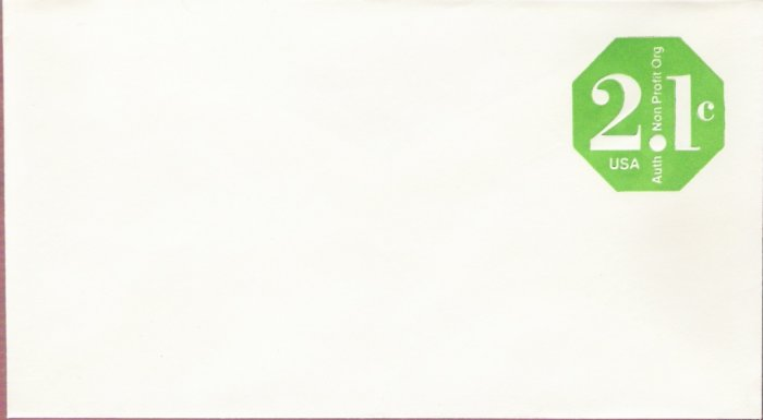 1977, US Scott U578, 2.1-cent Small Envelope 3.625 x 6.5 inch, Authorized Nonprofit, Mint