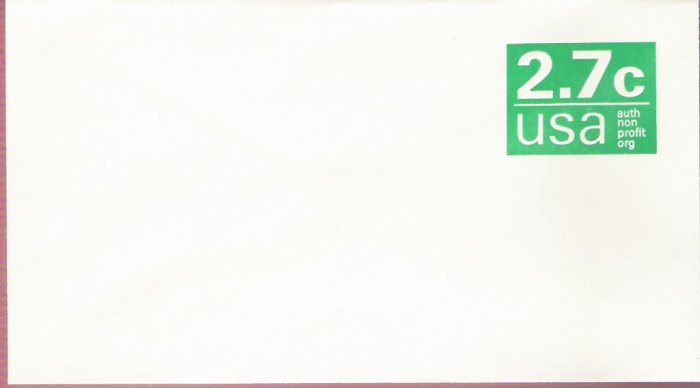 1978, US Scott U579, 2.7-cent Small Envelope 3.625 x 6.5 inch, Authorized Nonprofit, Mint