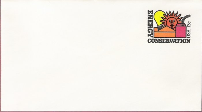 1977, US Scott U584, 13-cent Small Envelope 3.625 x 6.5 inch, Energy Conservation, Mint