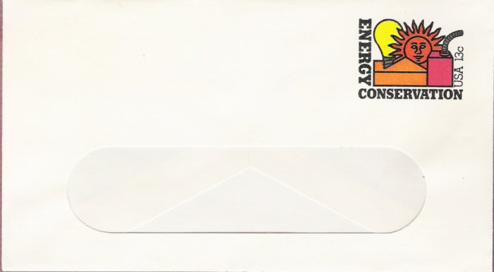 1977, US Scott U584, 13-cent Small Window Envelope 3.625 x 6.5 inch, Energy Conservation, Mint