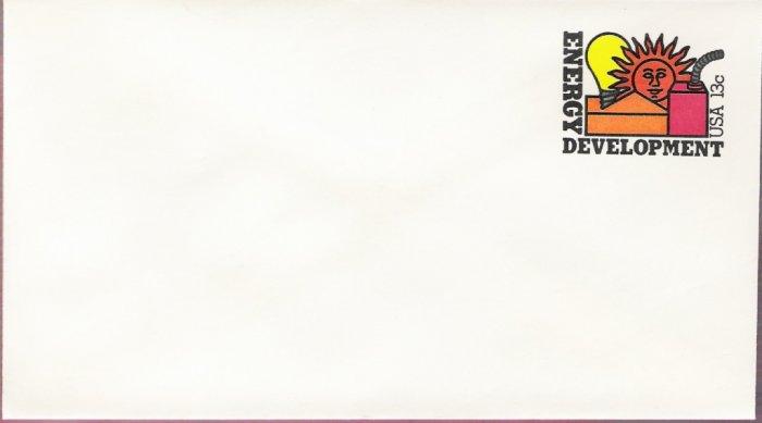 1977, US Scott U585, 13-cent Small Envelope 3.625 x 6.5 inch, Energy Development, Mint