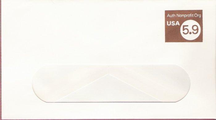 1982, US Scott U591, 5.9-cent Large Window Envelope 4.125 x 9.5 inch, Authorized Nonprofit USA,