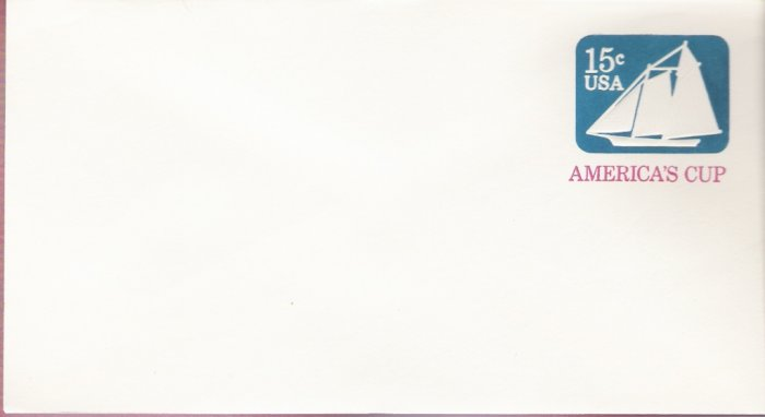 1980, US Scott U598, 15-cent Large Envelope 4.125 x 9.5 inch, America's Cup, Mint