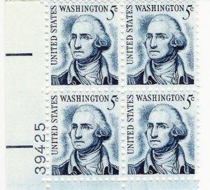 US Scott 1283B - Plate Block of 4 - George Washington LL Plate #39425 - Mint Never Hinged - 5 cent
