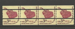 US Scott 1613a Pre Canceled - Line Strip of 4 - Guitar - Mint Never Hinged - 3.1 cent