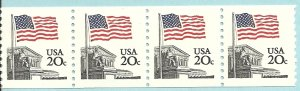 US Scott 1895 Strip of 4 - Flag over Supreme Court - 20 cent - Mint Never Hinged