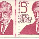 US Scott 1305E Line Pair - Perforation Error - Oliver Wendell Holmes - 15 cent - Mint Never Hinged
