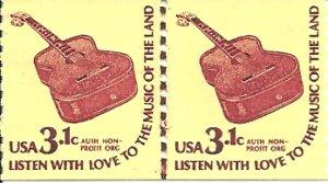 US Scott 1613 Line Pair - MUSIC GUITAR 3.1 cent - Mint Never Hinged