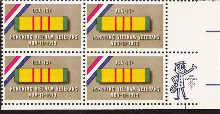 US Scott 1802 - Zip Block of 4 - Vietnam Vets 15 cent - Mint Never Hinged