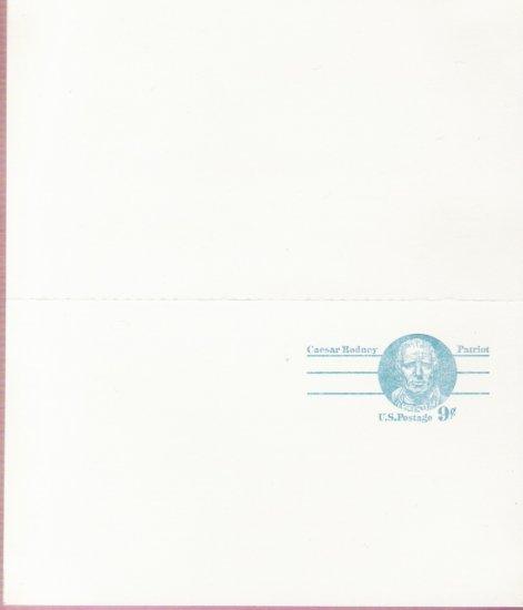 1976, US Scott UX70, DOUBLE 9-cent Post Card, Caesar Rodney, Mint