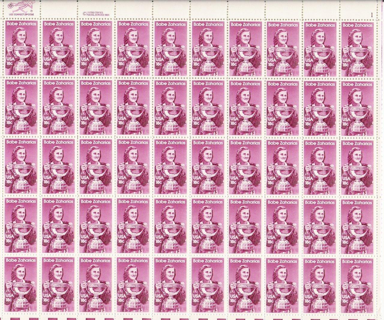 US Scott 1932 - Sheet of 50 - Babe Zaharais - Mint Never Hinged