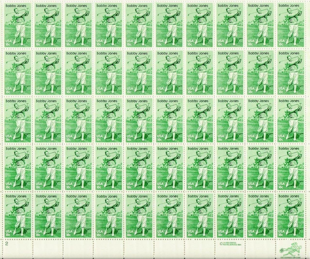 US Scott 1933 - Sheet of 50 - Bobby Jones - Mint Never Hinged