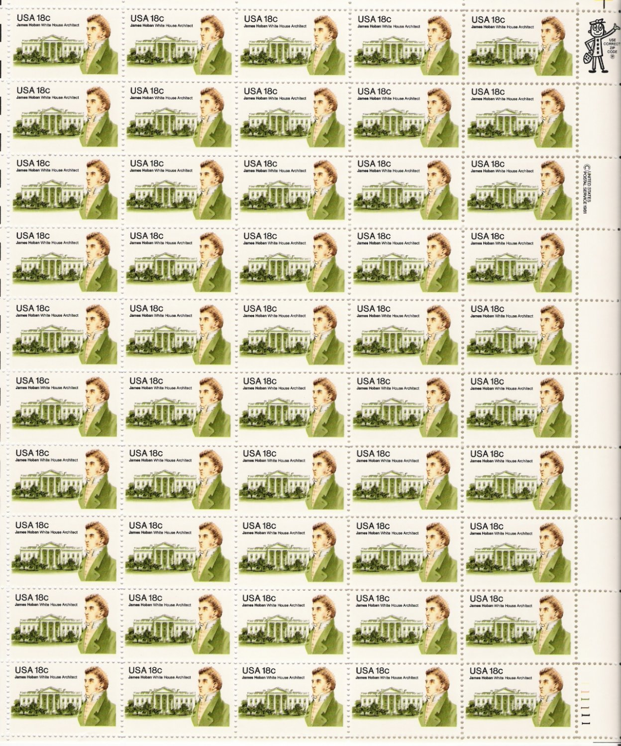 US Scott 1935 - Sheet of 50 - 18c James Hoban - Mint Never Hinged