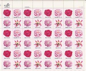 US Scott1876 1877 1878 1879 - Sheet of 48 - Flowers - Mint Never Hinged