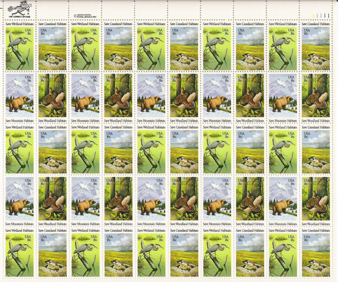 US Scott 1921-1924 - Sheet of 50 - Save Wildlife Habitats - Mint Never Hinged