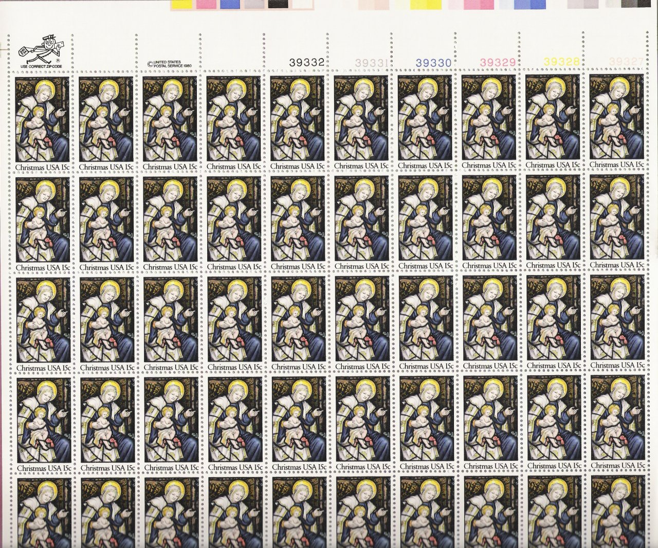 US Scott 1842 - Sheet of 50 - Christmas 1980-religious  - Mint Never Hinged