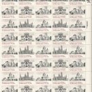 US Scott 1838 1839 1840 1841 - Sheet of 40 - American Architecture Smithsonian - Mint Never Hinged