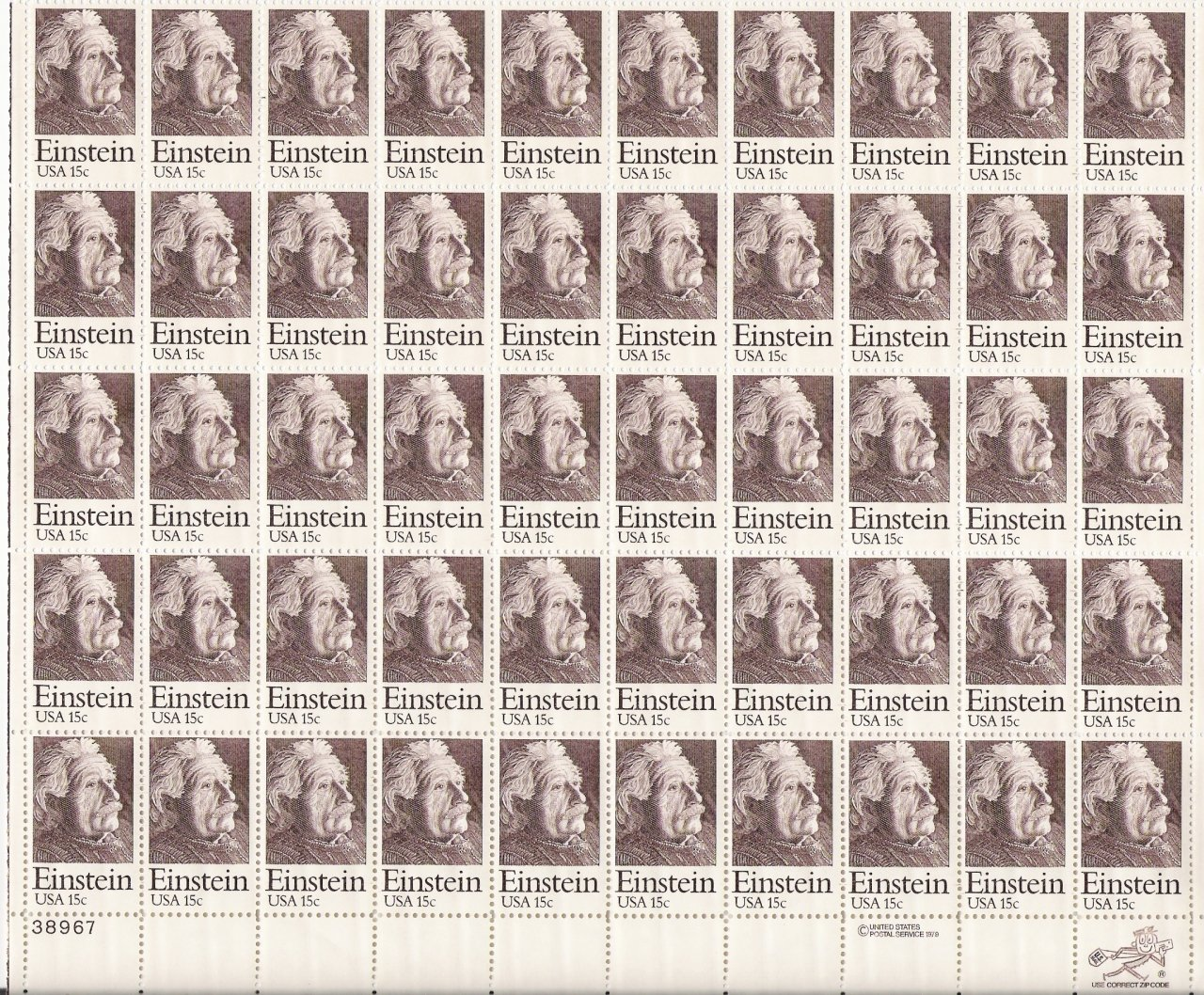 US Scott 1774 - Sheet of 50 - Albert Einstein - Mint Never Hinged