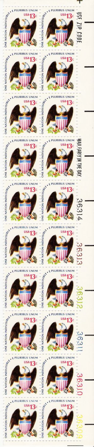US Scott 1596 - Plate Block of 20 - 13 cent Eagle and Shield - Mint Never Hinged
