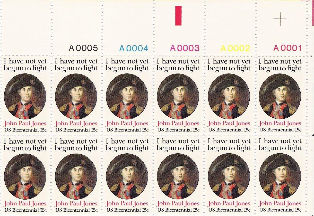 US Scott 1789 - Plate Block of 12 A00001-A00005 Top - John Paul Jones 15 cent - Mint Never Hinged