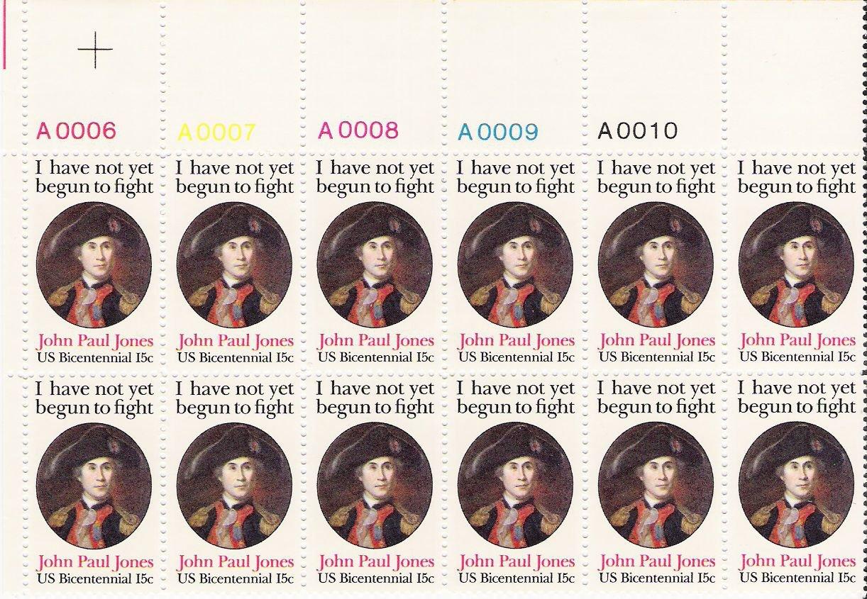 US Scott 1789 - Plate Block of 12 A00006-A00010 Top - John Paul Jones 15 cent - Mint Never Hinged
