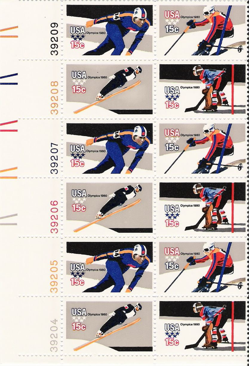 US Scott 1798b - Plate Block of 12 (left) - 1980 Winter Olympics 15 cent - Mint Never Hinged