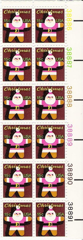 US Scott 1800 - Plate Block of 12 (right) - Christmas 1979 Santa Claus 15 cent