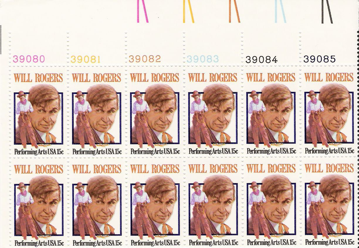 US Scott 1801 - Plate Block of 12 - Will Rogers 15 cent - Mint Never Hinged