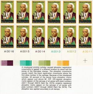 US Scott 1804 - Plate Block of 12 (bottom) - Benjamin Banneker 15 cent - Mint Never Hinged