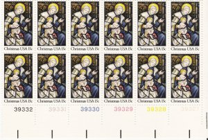 US Scott 1842 - Plate Block of 12 LR- Christmas 1980-religious 15 cent - Mint Never Hinged