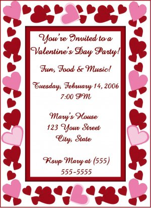 20 personalized heart valentine s day party invitations birthday or