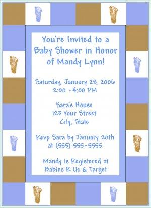 50 Footprint Baby Shower Invitations-Boy or Girl