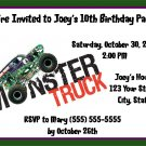 20 Personalized Monster Truck  Birthday Party Invitations