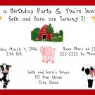 20 Personalized Farm Animals Birthday Party Invitation
