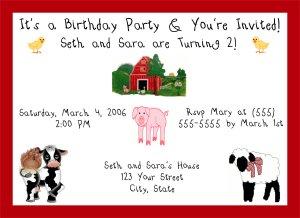 20 Personalized Farm Animals Birthday Party Invitation