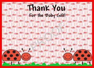 20 Personalized LadyBug Thank You Cards-Birthday or Baby