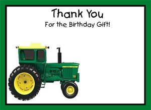 20 Personalized Tractor Thank You Cards