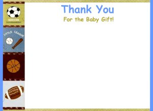30 Personalized Sports Thank You Cards for Baby Shower