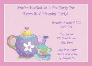 20 Personalized Tea Party Birthday Invitations