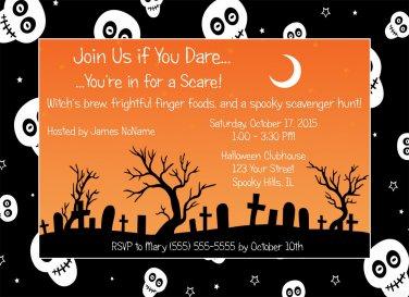 20 Spooky Skulls Halloween Party Invitations~Birthday