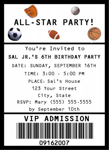 20 Personalized Sports All Star Birthday Party Invitations