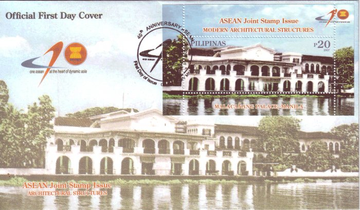 Philippines ASEAN Joint Stamp Issue - Modern Architectural Structures S/S FDC