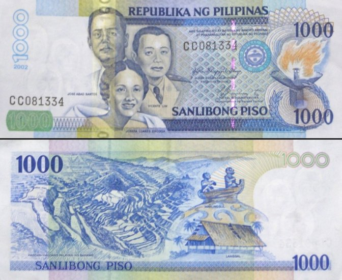 Philippines One Thousand 1000 Pesos Banknote