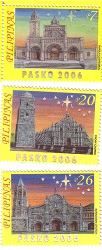 Philippines Christmas Stamp Pasko 2006 3v Hollographic Lettering