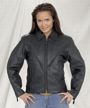 Ladies heavy duty soft leather MC Jacket zipout lining w/braid gather sides