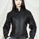 Ladies leather motorcycle jacket with zipout lining