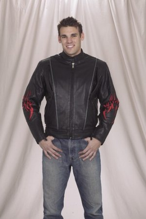 Mens racer leather jacket with flame, airvent zipout lining & light reflector