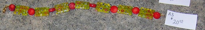 A3-Fancy Yellow Glass and Red Beaded Bracelet